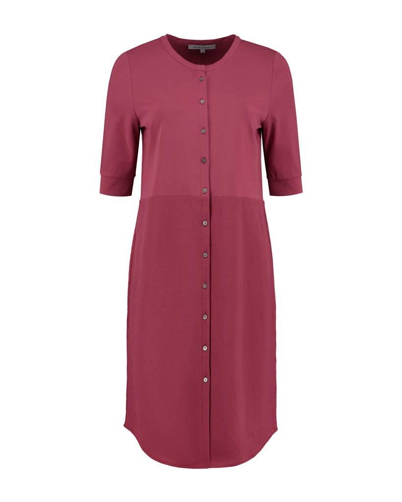 SYLVER Stretch Crêpe Blouse Dress - Donkerrood