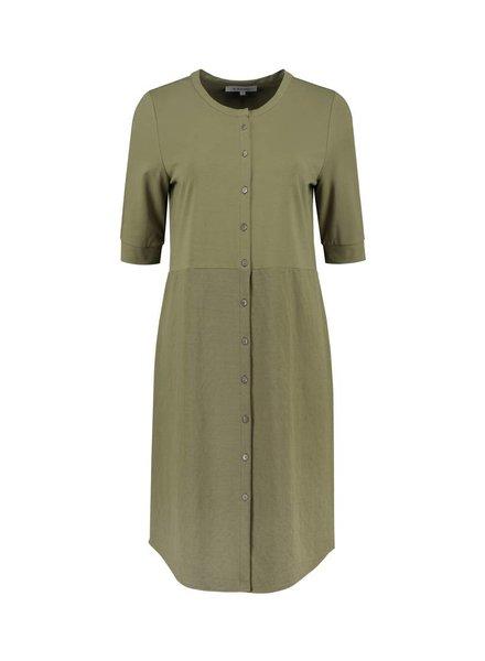SYLVER Stretch Crêpe Blouse Dress - Army