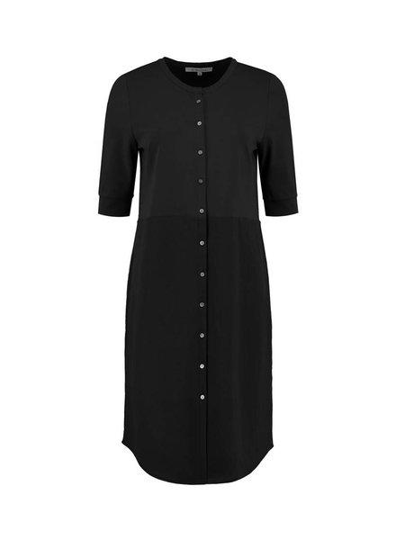 SYLVER Stretch Crêpe Blouse Dress - Zwart