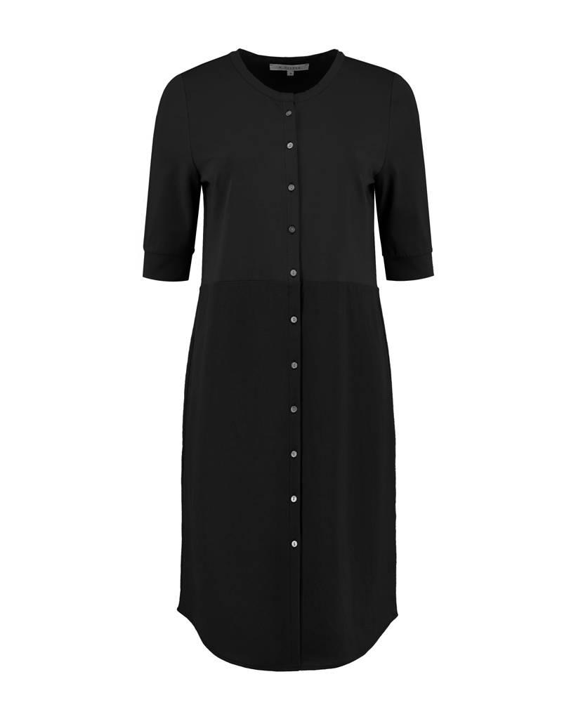 SYLVER Stretch Crêpe Blouse Dress - Black