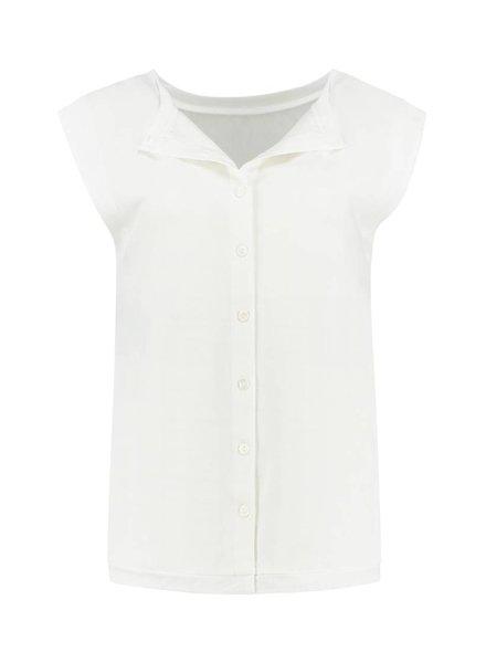 SYLVER Stretch Crêpe Shirt - Gebroken wit