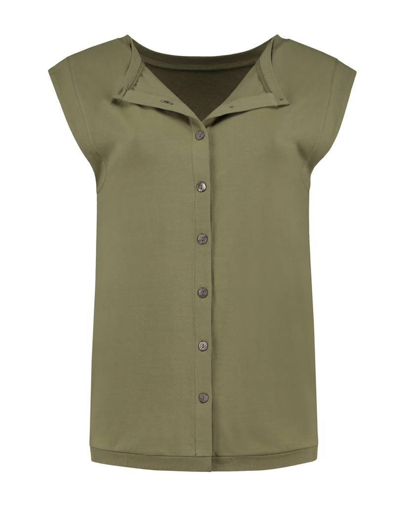 SYLVER Stretch Crêpe Shirt - Legergroen