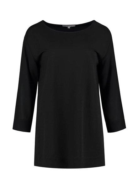 SYLVER Stretch Crêpe Shirt - Zwart