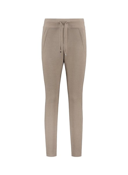 SYLVER Stretch Crêpe Trousers Small - Sand