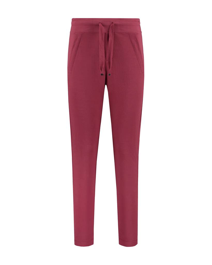 SYLVER Stretch Crêpe Trousers Small - Donkerrood