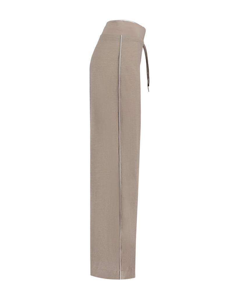 SYLVER Stretch Crêpe Trousers Piping - Zand