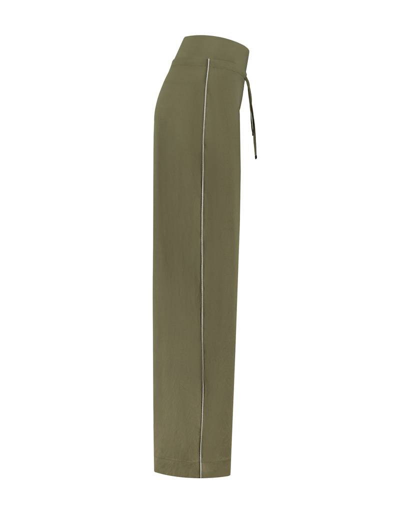 SYLVER Stretch Crêpe Trousers Piping - Legergroen