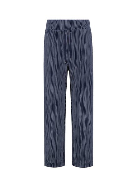SYLVER Stretch Stripe Trousers - Donkerblauw