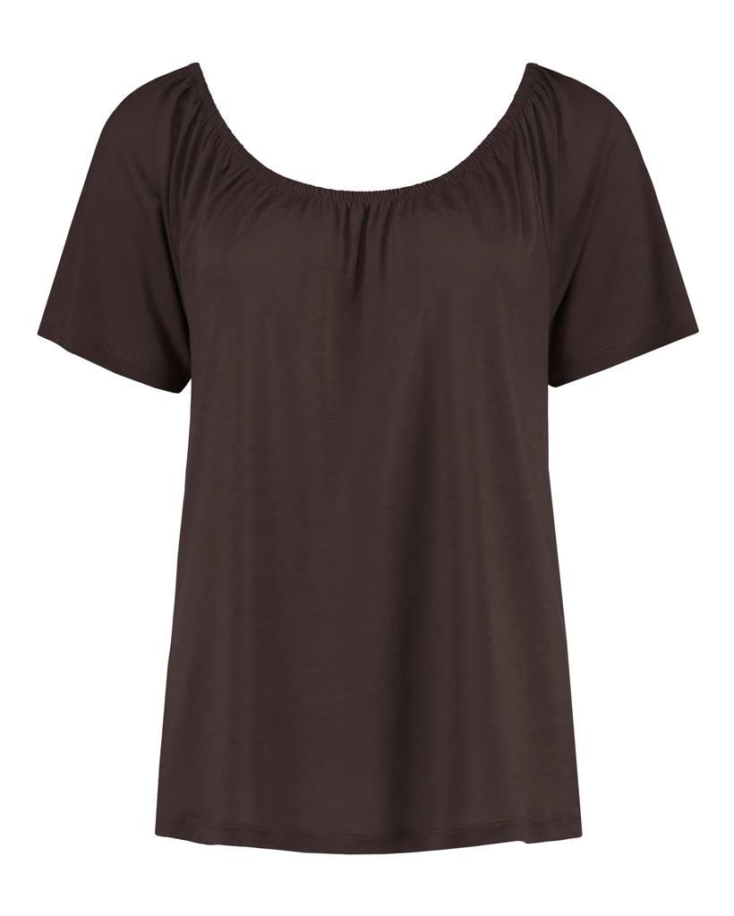 "SYLVER Summer Lyocell Shirt ""off shoulder"" - Brown"