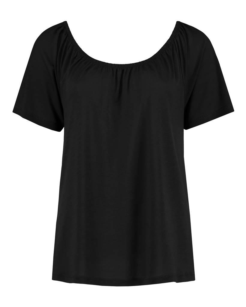 "SYLVER Summer Lyocell Shirt ""off shoulder"" - Zwart"