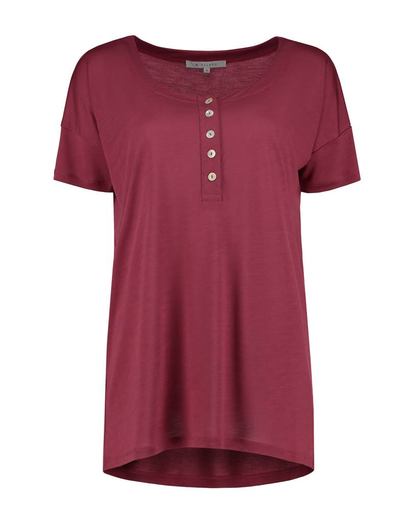 SYLVER Summer Lyocell Shirt Buttons - Warm Red