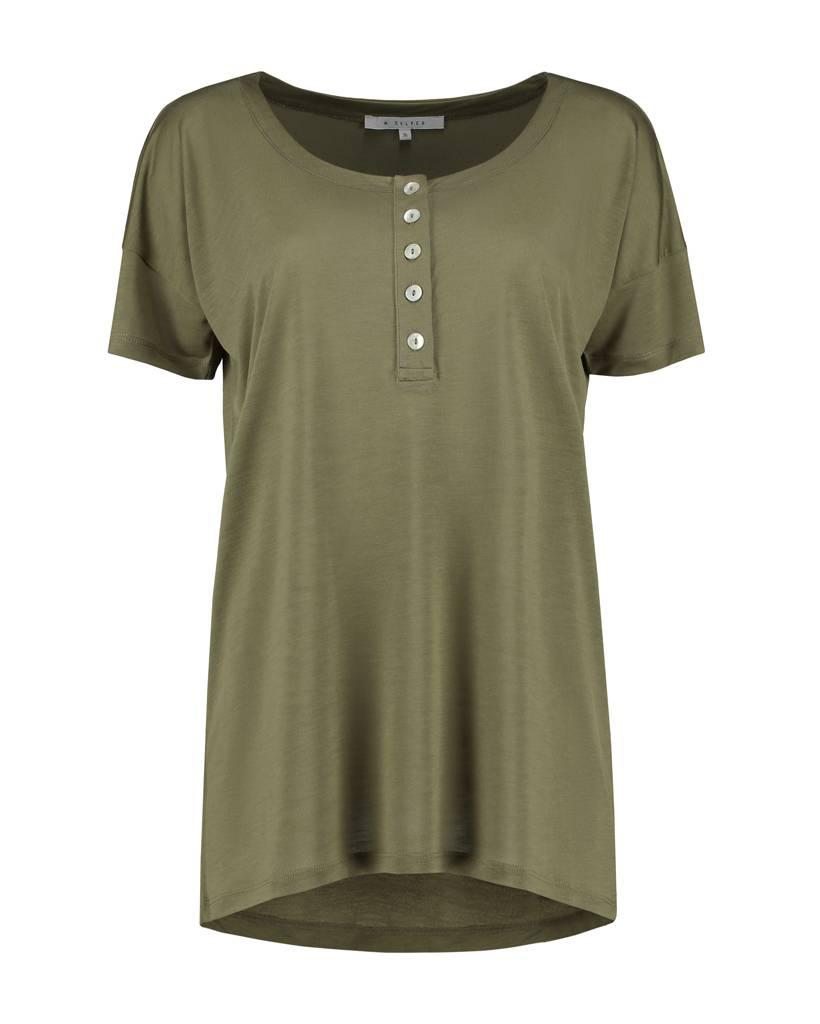 SYLVER Summer Lyocell Shirt Buttons - Legergroen