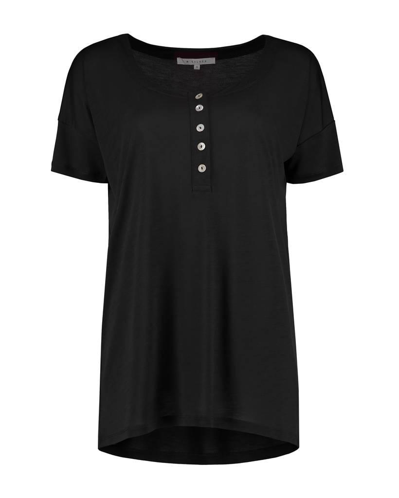 SYLVER Summer Lyocell Shirt Buttons - Zwart