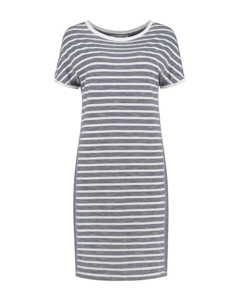 SYLVER Pique Stripe Dress - Dark Blue