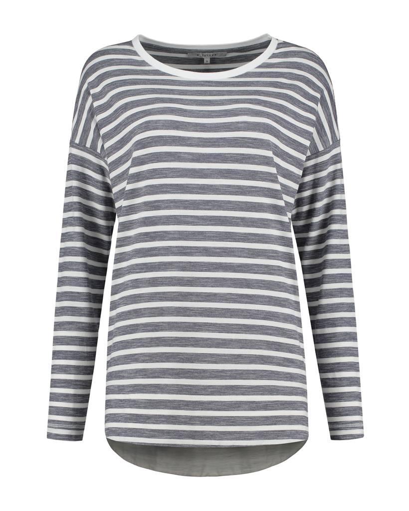 SYLVER Pique Stripe Shirt rib collar - Donkerblauw