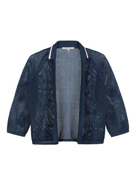 SYLVER Open Knit Cardigan - Dark Blue