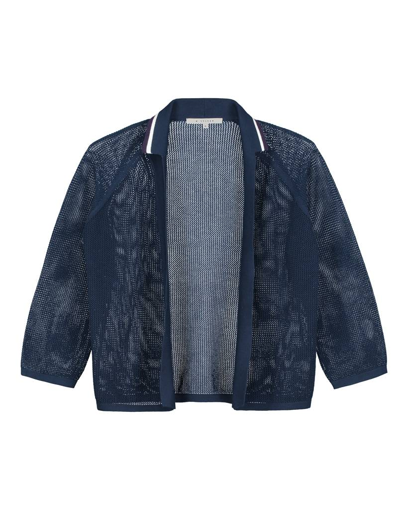 SYLVER Open Knit Cardigan - Donkerblauw