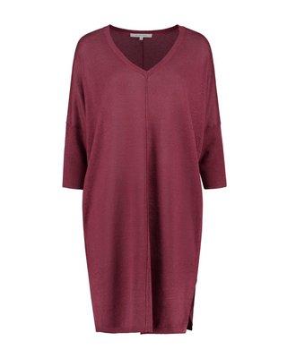 SYLVER 100% Linen Dress - Donkerrood