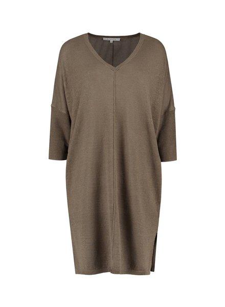 SYLVER 100% Linen Dress - Legergroen
