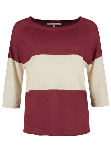 SYLVER 100% Linen Pull Big Stripe - Warm Red