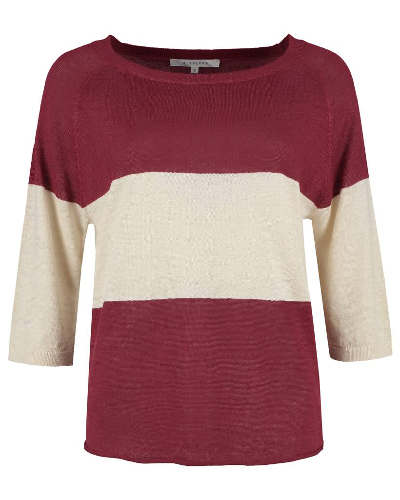 SYLVER 100% Linen Pull Big Stripe - Donkerrood