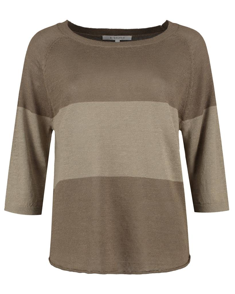 SYLVER 100% Linen Pull Big Stripe - Army