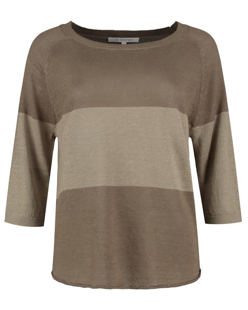 SYLVER 100% Linen Pull Big Stripe - Legergroen