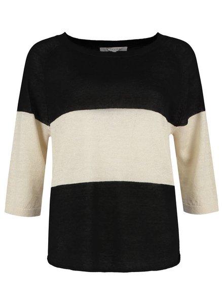 SYLVER 100% Linen Pull Big Stripe - Black