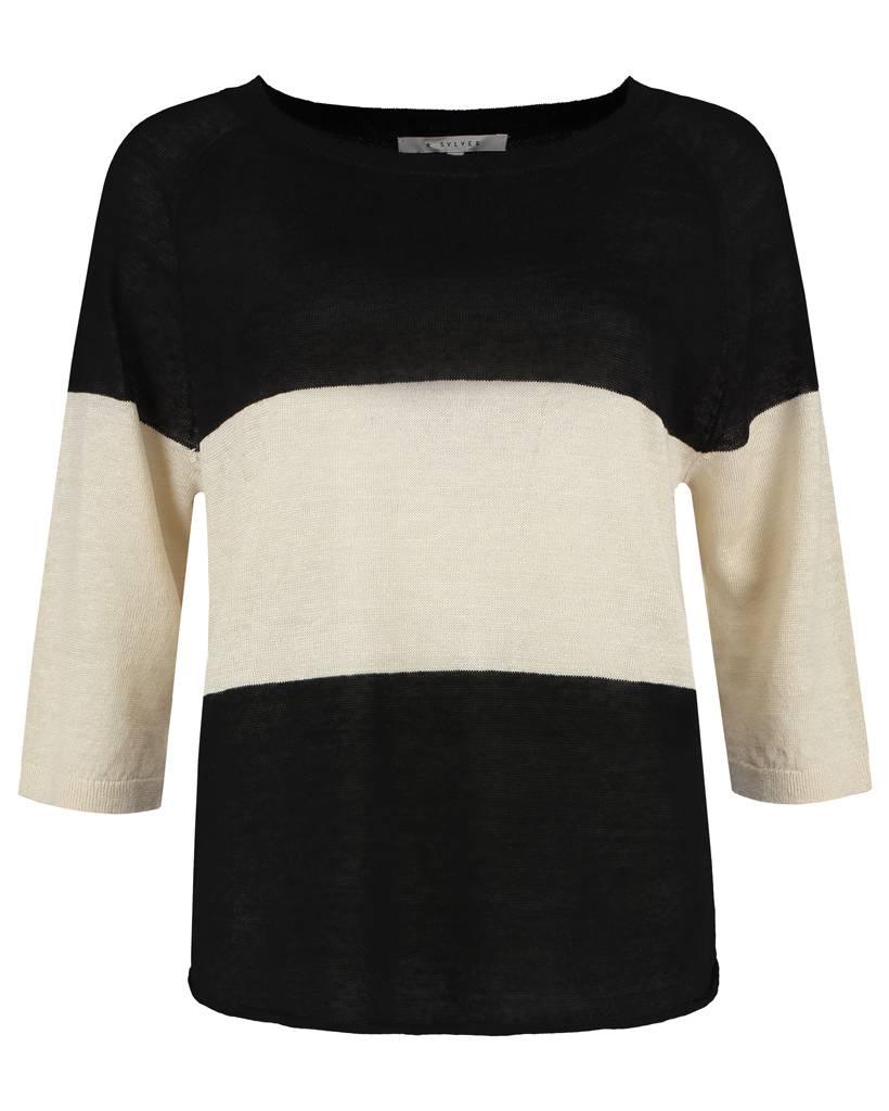 SYLVER 100% Linen Pull Big Stripe - Zwart