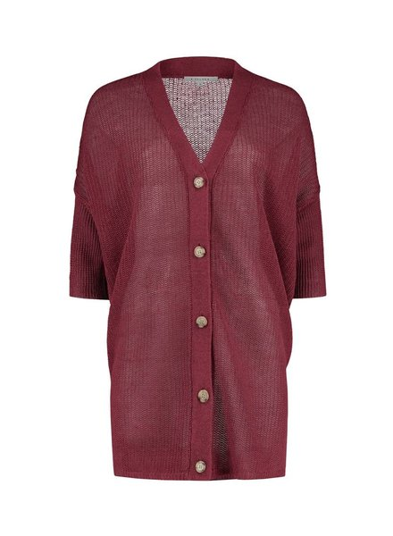 SYLVER 100% Linen Cardigan - Donkerrood