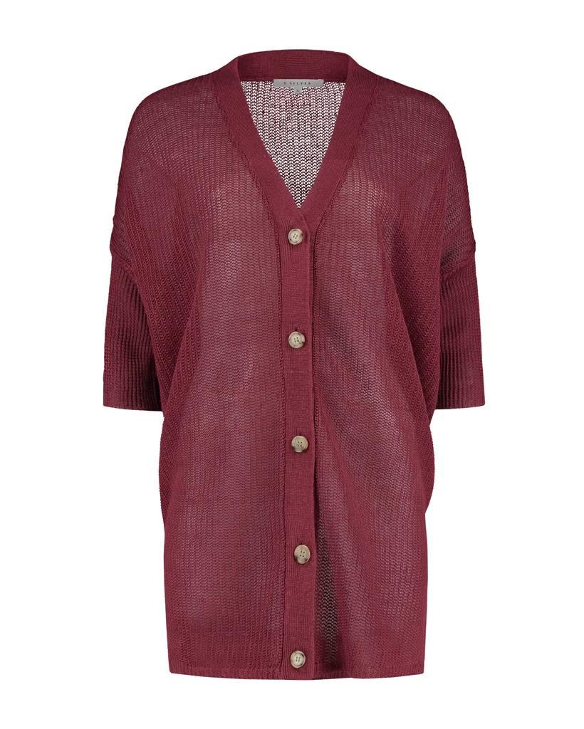 SYLVER 100% Linen Cardigan - Donkerrood