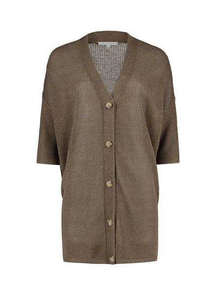 SYLVER 100% Linen Cardigan - Legergroen