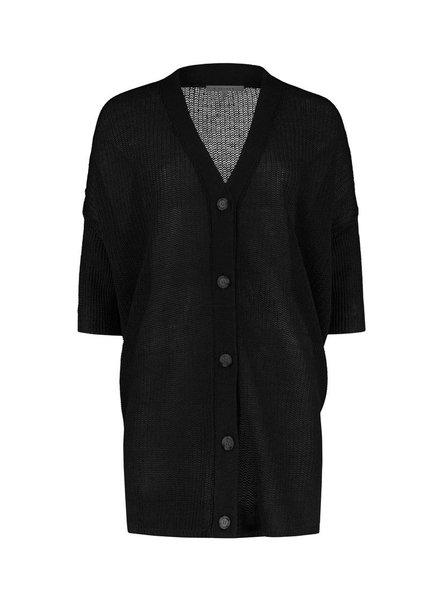 SYLVER 100% Linen Cardigan - Black