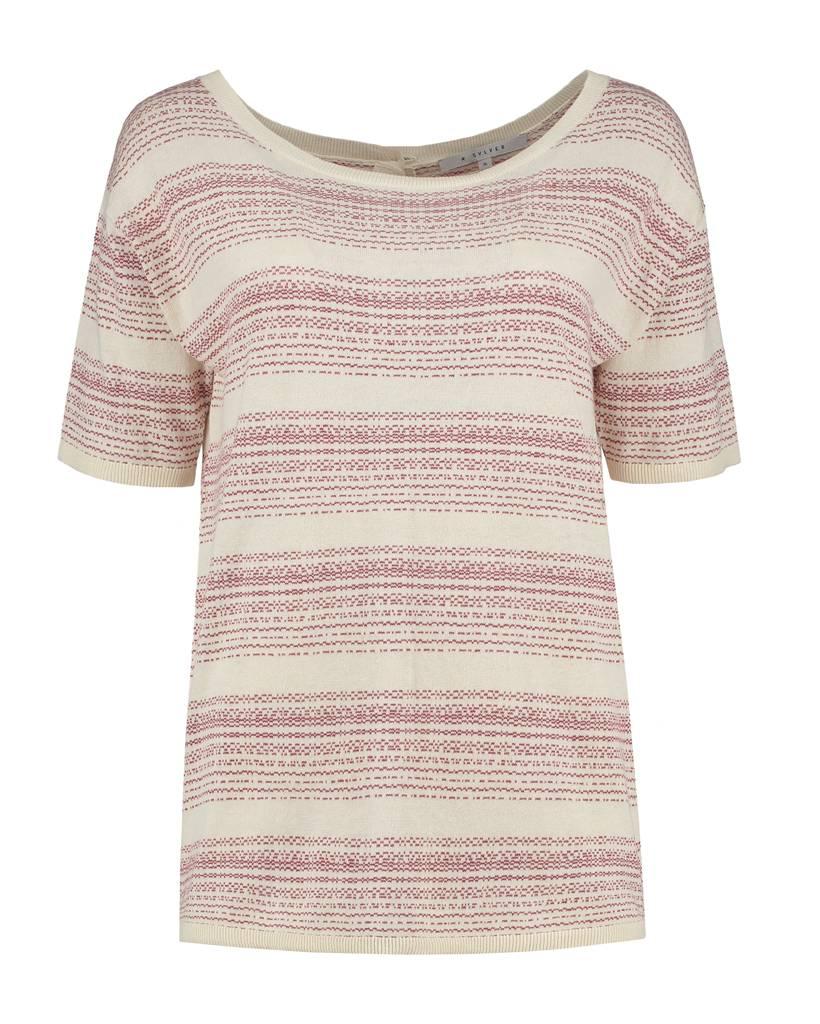 SYLVER Stripe Knit Cardigan/Shirt - Donkerrood