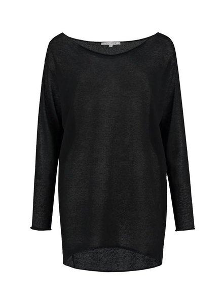 SYLVER Gauze Shirt Long Sleeve - Zwart