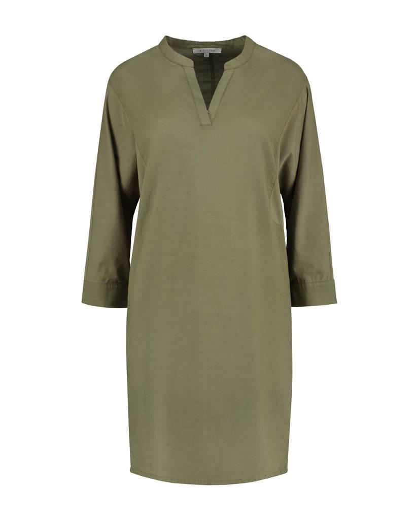 SYLVER Light Linen Dress - Legergroen