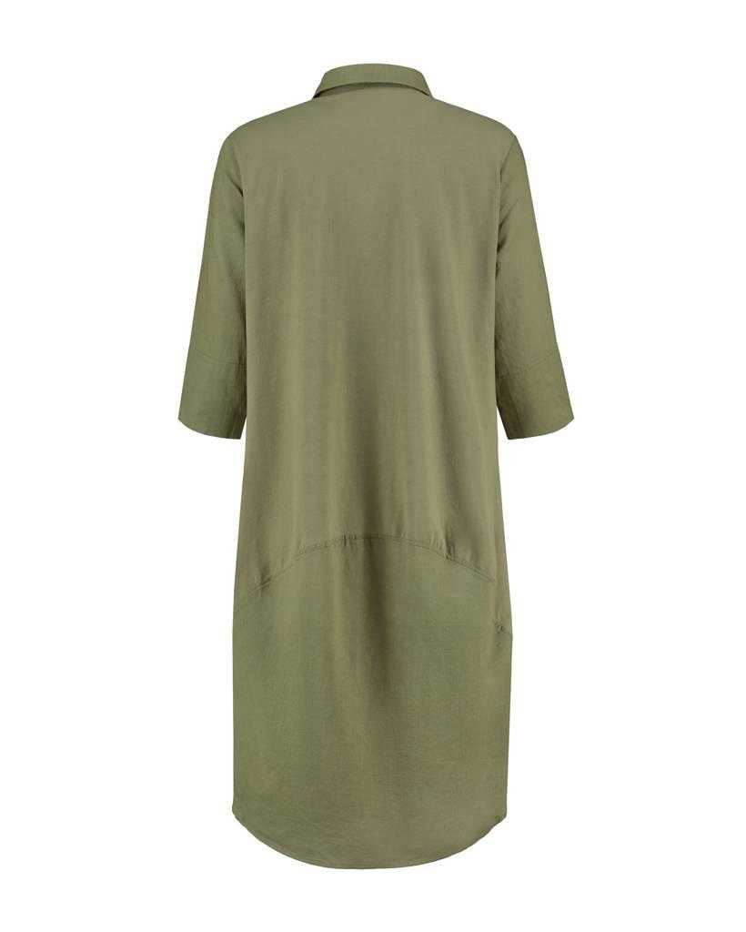 SYLVER Light Linen Dress Balon - Legergroen