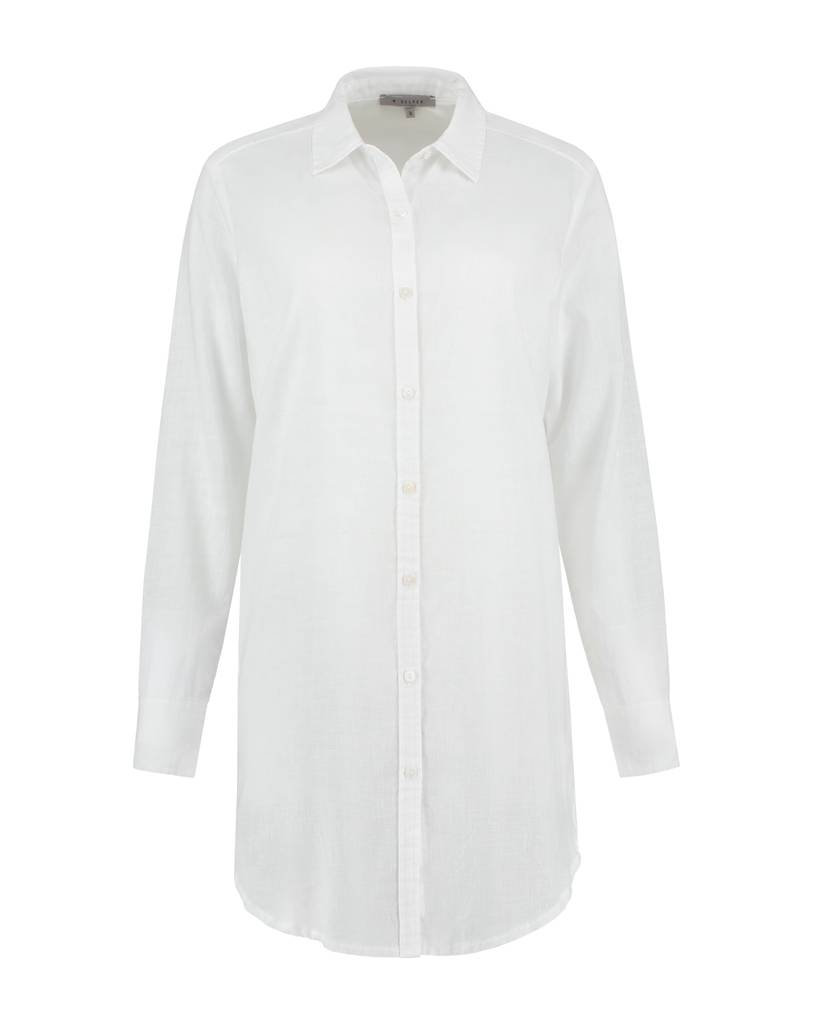 SYLVER Light Linen Blouse Long - Wit