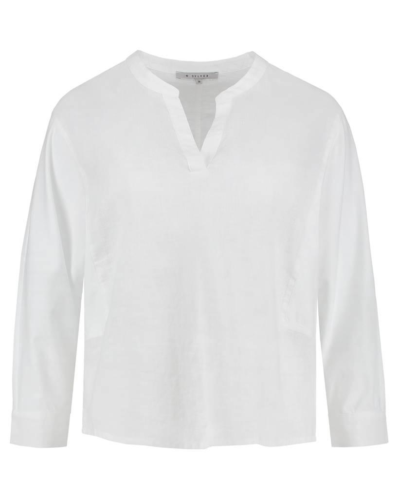 SYLVER Light Linen Blouse Short - Wit