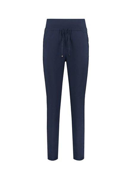 SYLVER Stretch Poplin Trousers - Dark Blue