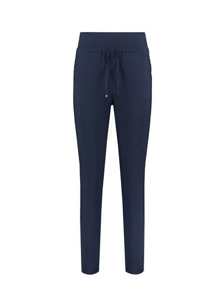 SYLVER Stretch Poplin Trousers - Donkerblauw