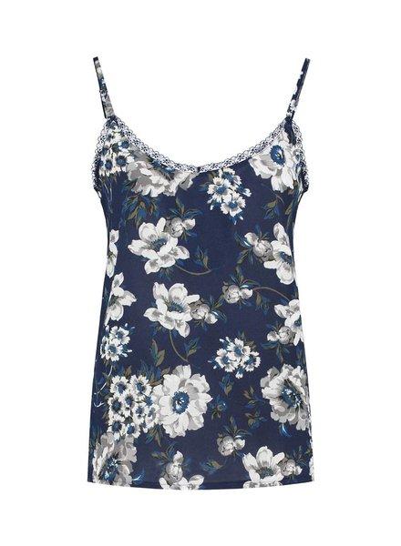 SYLVER Multi Flower Top - Donkerblauw