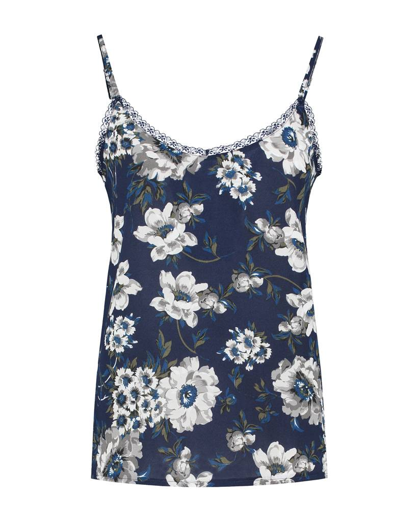 SYLVER Multi Flower Top - Donkerblauw