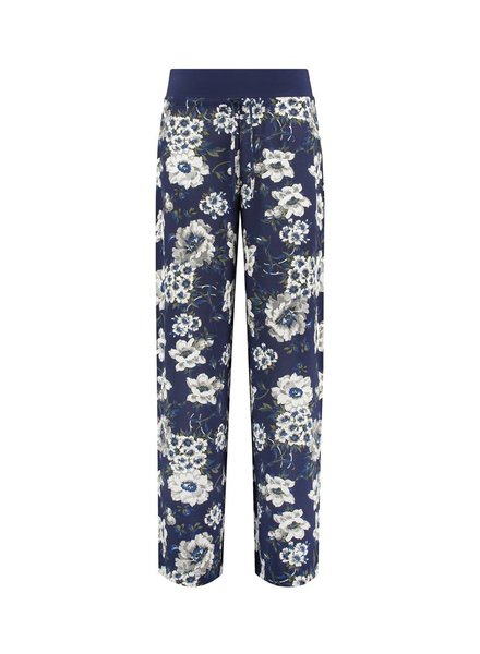 SYLVER Multi Flower Trousers - Donkerblauw