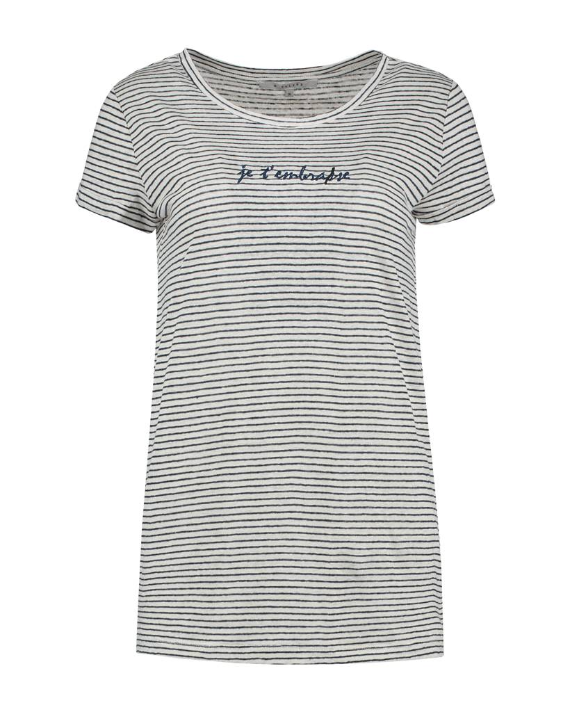 SYLVER Linen Stripe Shirt - Donkerblauw