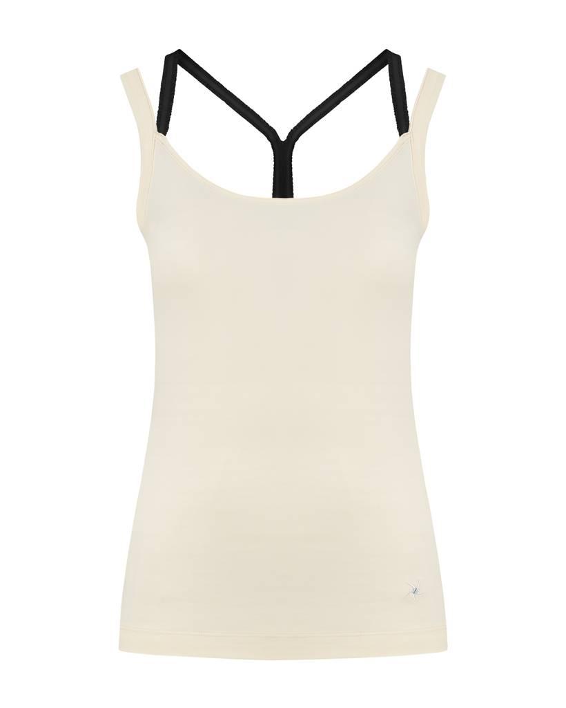 SYLVER Cotton Elasthane Top Crossed - Zwart