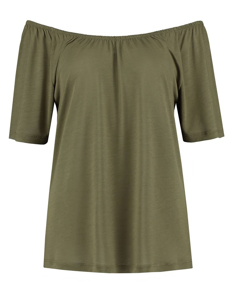 "SYLVER Summer Lyocell Shirt ""off shoulder"" - Legergroen"