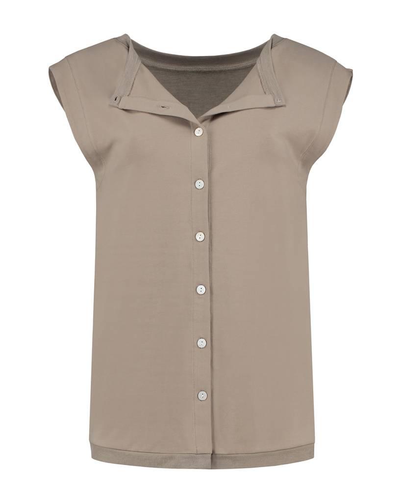 SYLVER Stretch Crêpe Shirt - Zand