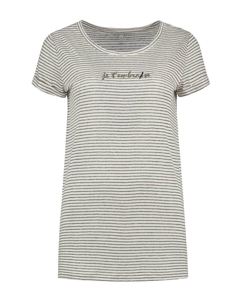 SYLVER Linen Stripe Shirt - Legergroen