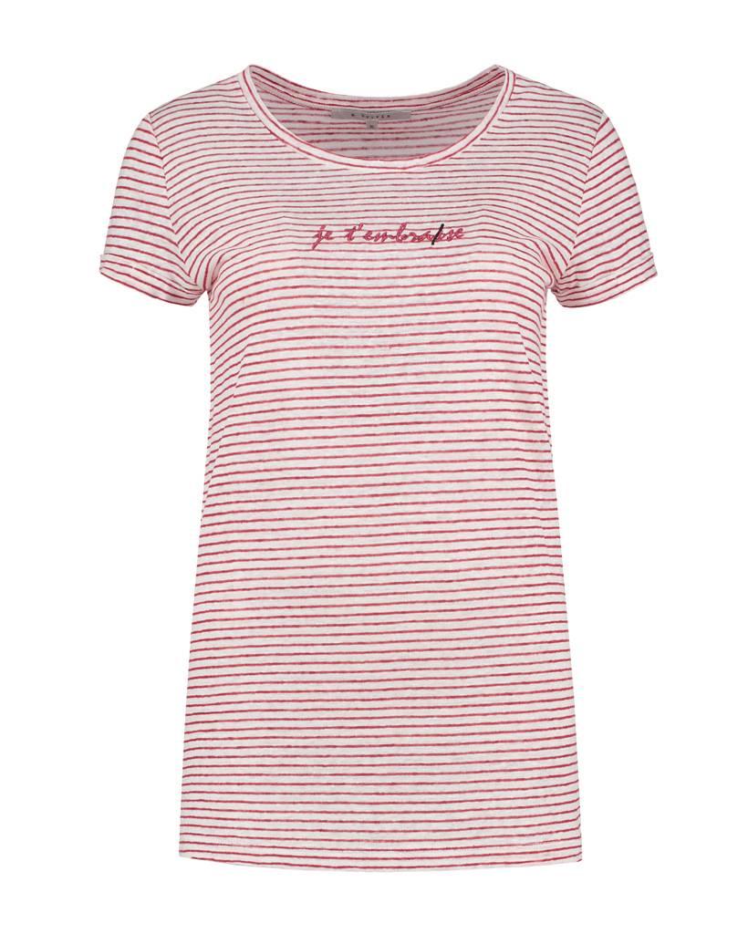 SYLVER Linen Stripe Shirt - Rood